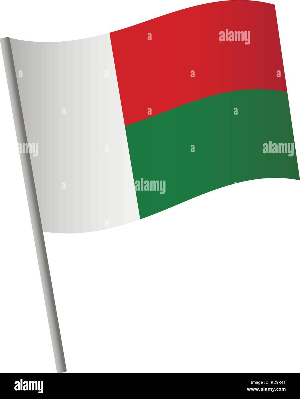 Madagascar flag icon. National flag of Madagascar on a pole vector illustration. - Stock Vector