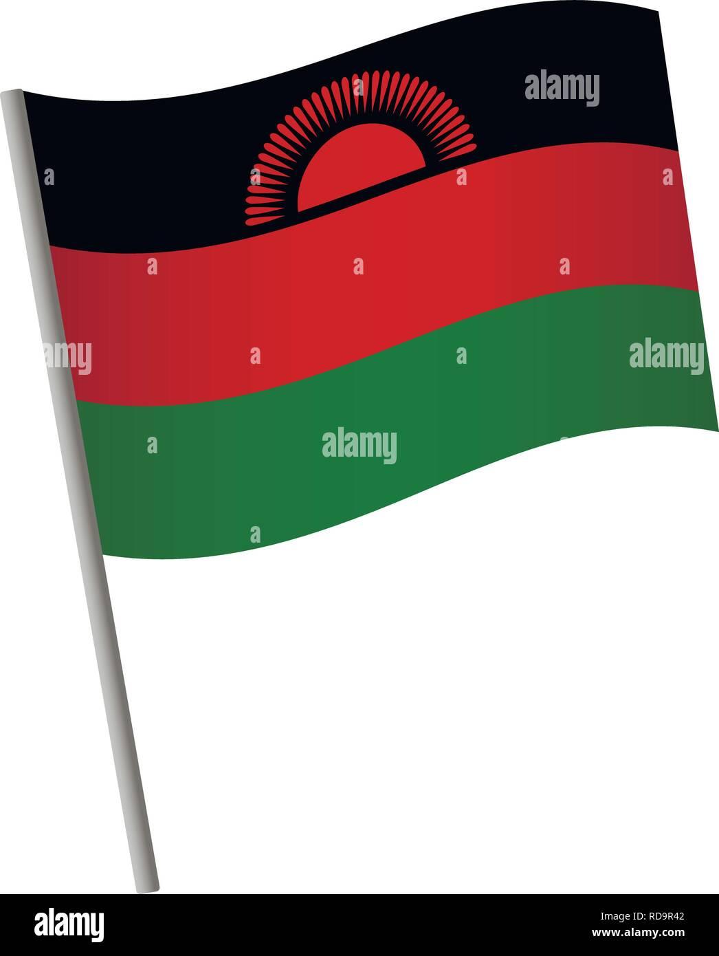 Malawi flag icon. National flag of Malawi on a pole vector illustration. - Stock Vector