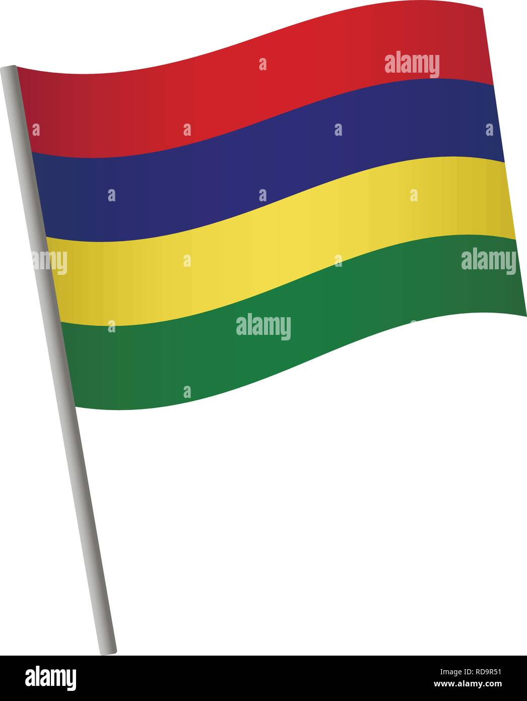Mauritius flag icon. National flag of Mauritius on a pole vector illustration. - Stock Vector