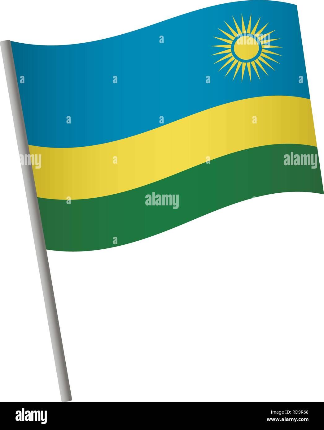 Rwanda flag icon. National flag of Rwanda on a pole vector illustration. - Stock Vector