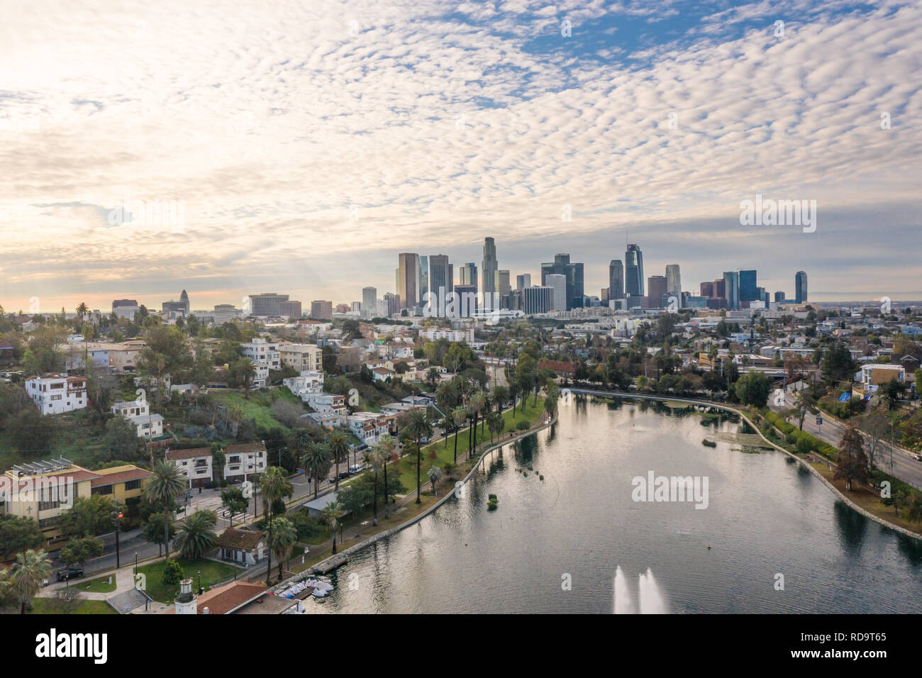 Panoramic view of Silver Lake and Downtown Los Angeles on a beautiful morning, California, USA - Stock Image