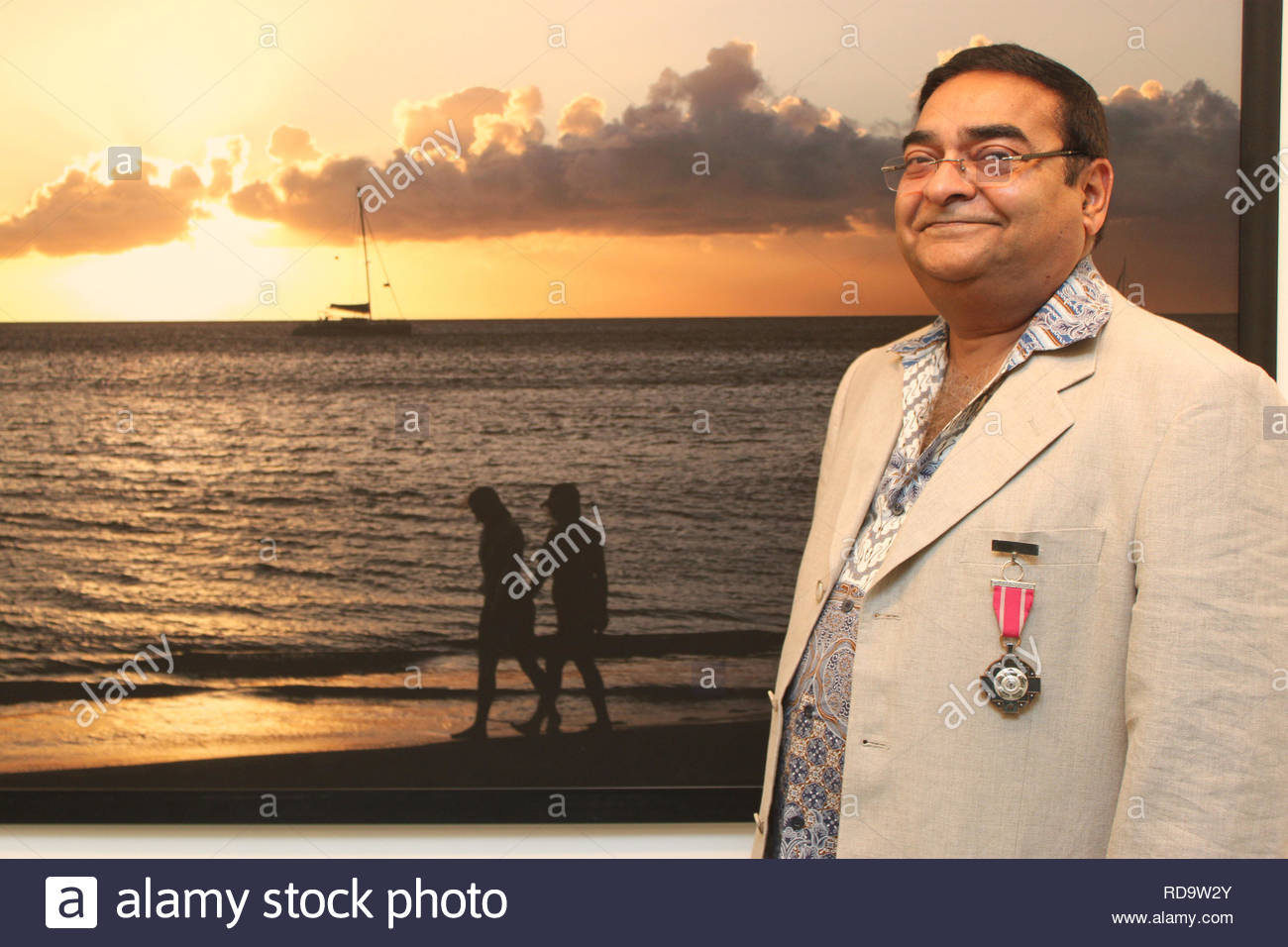 Homeopath Dr Mukesh Batra at the inauguration of his 8th annual charity photography exhibition in Mumbai, India on September 13, 2012. (SOLARIS IMAGES) - Stock Image
