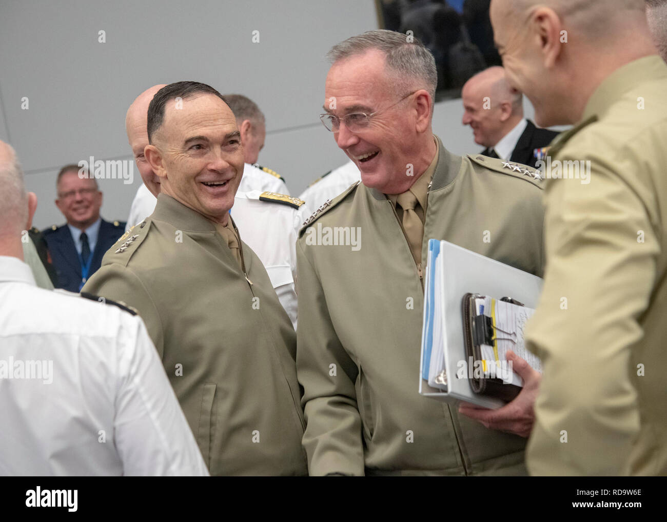 Marine Corps Gen. Joe Dunford, chairman of the Joint Chiefs of Staff, attends the 180th North Atlantic Treaty Organization Military Committee in Chiefs of Defense Session (MC/CS) in Brussels, Belgium, Jan. 16, 2019. (DOD photo by Navy Petty Officer 1st Class Dominique A. Pineiro) Stock Photo