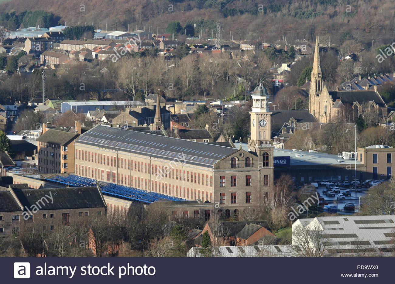 One of the remaing building of the Jute Mill at Camperdown Works now a residential building Methven Walk Dundee Scotland  January 2019 - Stock Image