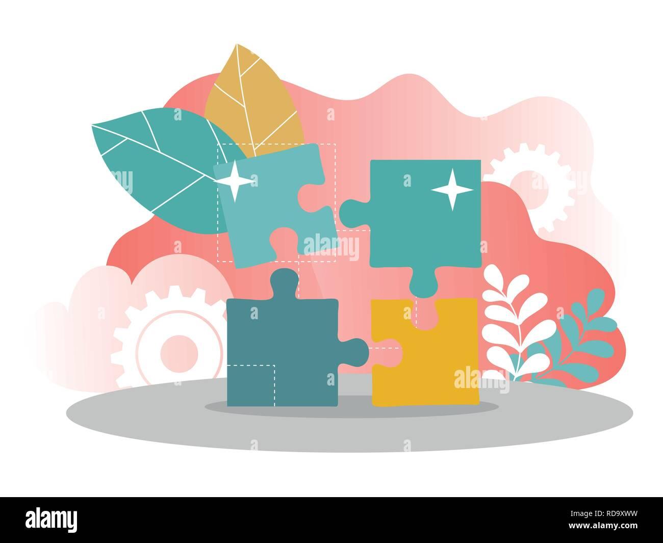 Business solution concept illustration for web design, banner, mobile app - Stock Image