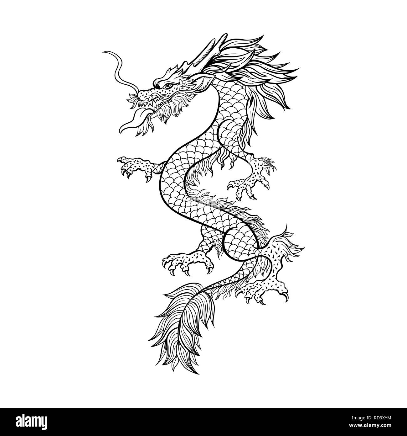Chinese dragon hand drawn vector illustration. Mythical creature ink pen sketch. Black and white clipart. Serpent freehand drawing. Isolated monochrome mythic design element. Chinese new year poster - Stock Image