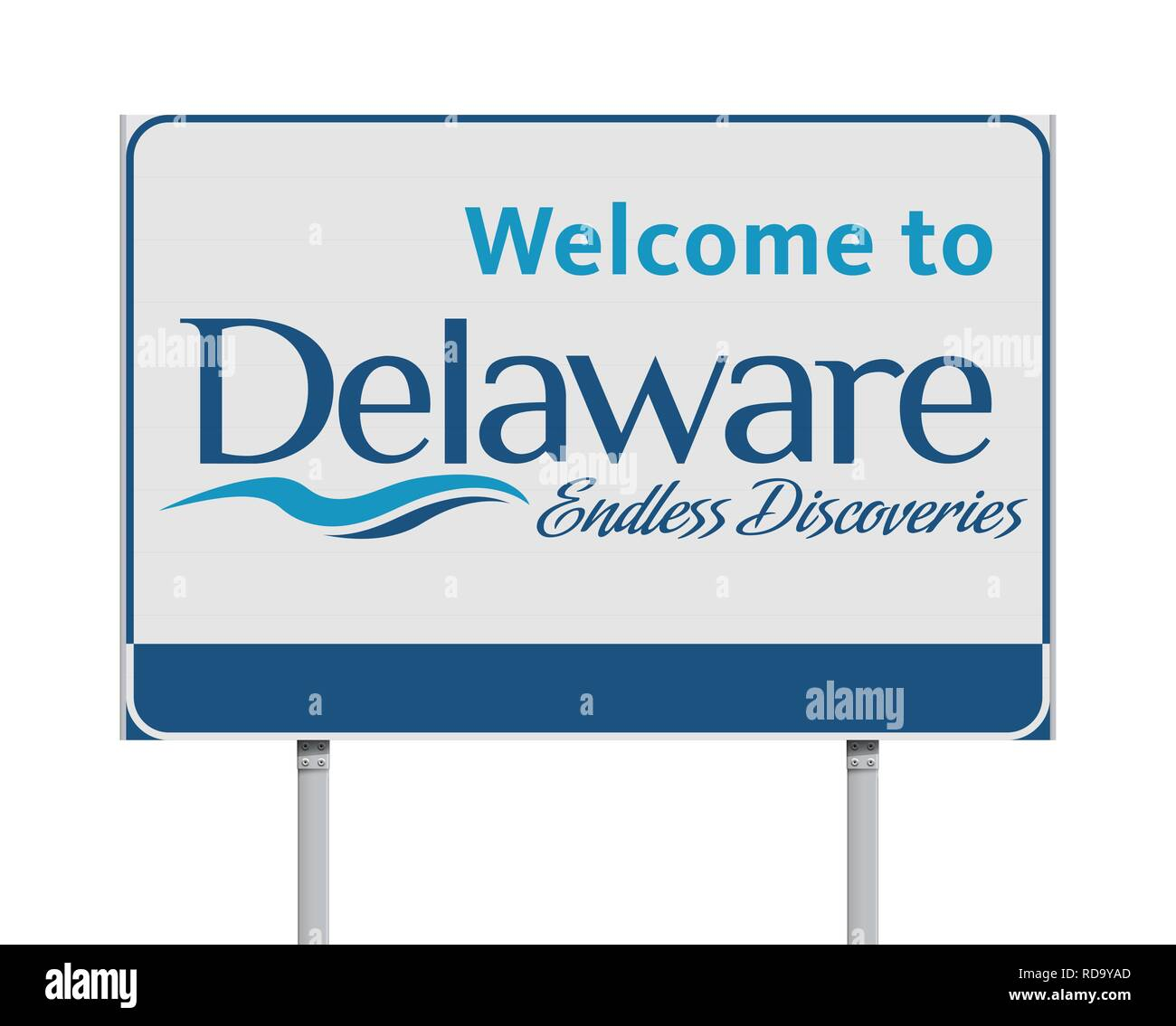 Vector illustration of the Welcome to Delaware road sign - Stock Vector
