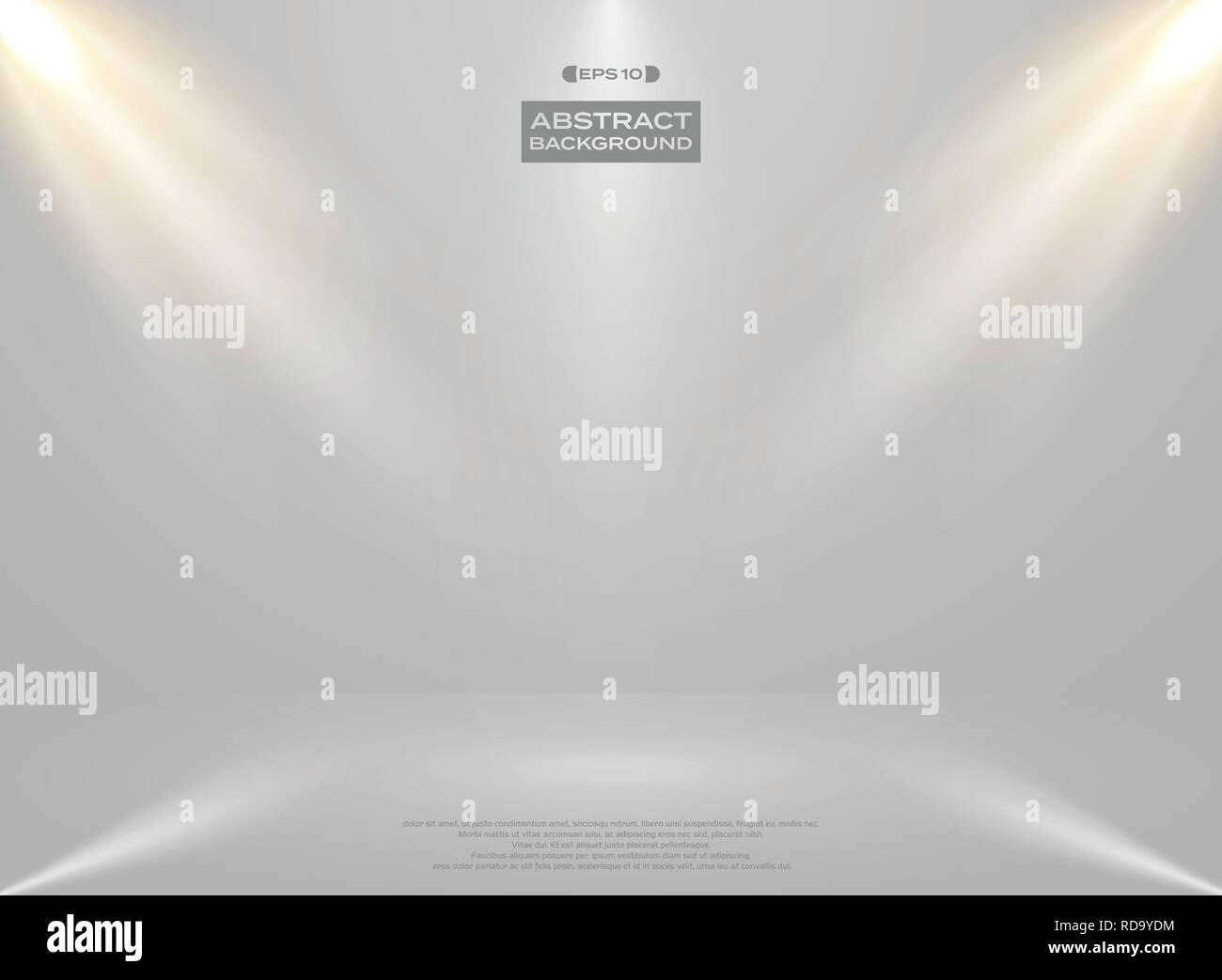 Abstract of lights studio room presentation on gradient white background, vector eps10 - Stock Vector