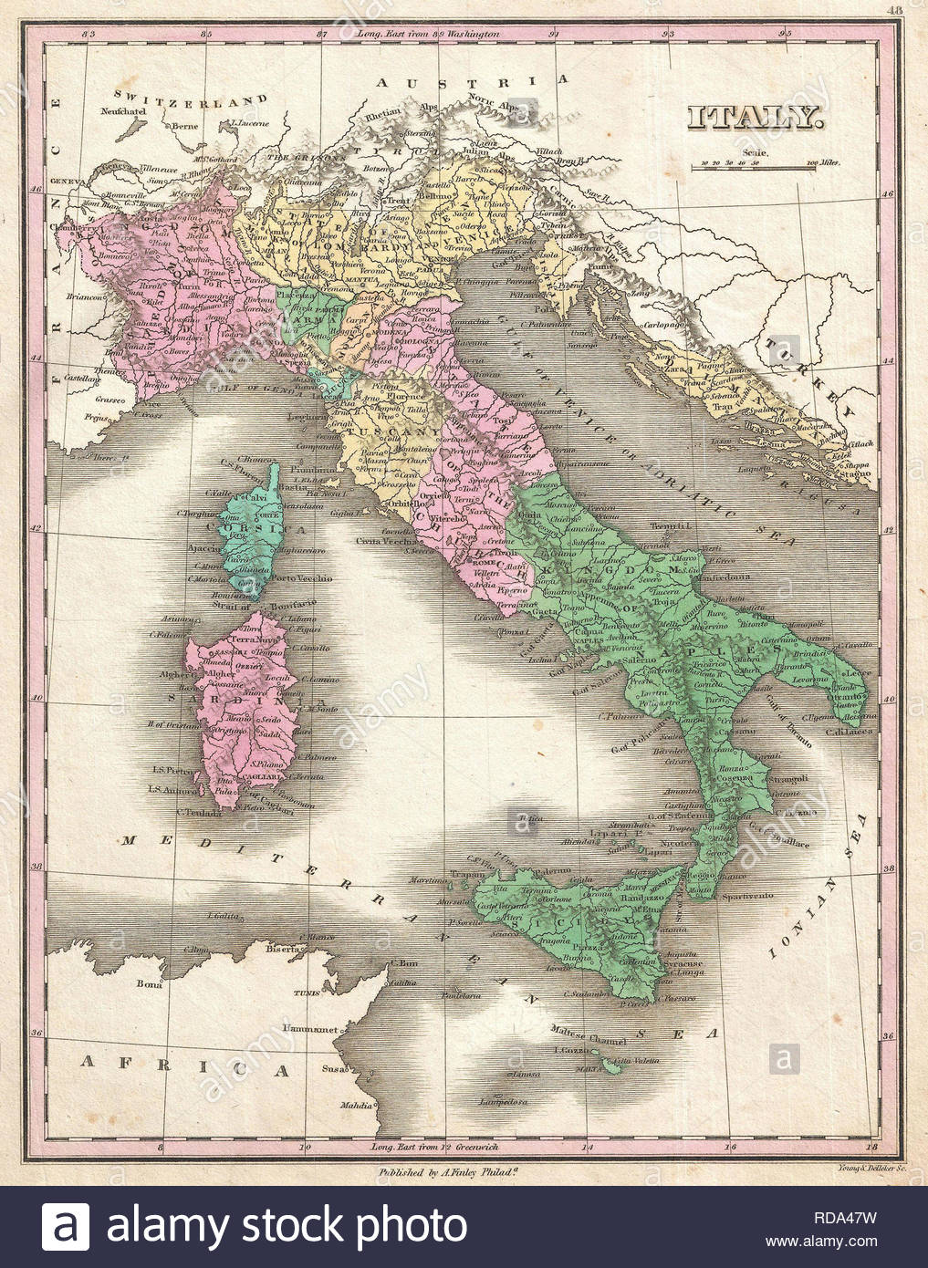 1827, Finley Map of Italy, Anthony Finley mapmaker of the United States in the 19th century. - Stock Image