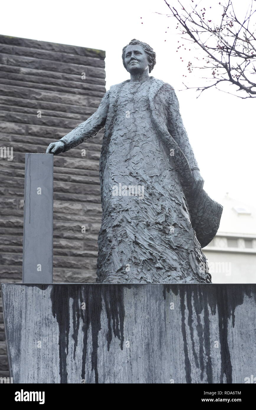 Ingibjorg H. Bjarnason (1867-1941) statue, Reykjavík, Iceland, She was an Icelandic politician, suffragist, school teacher and gymnast. She was the fi - Stock Image