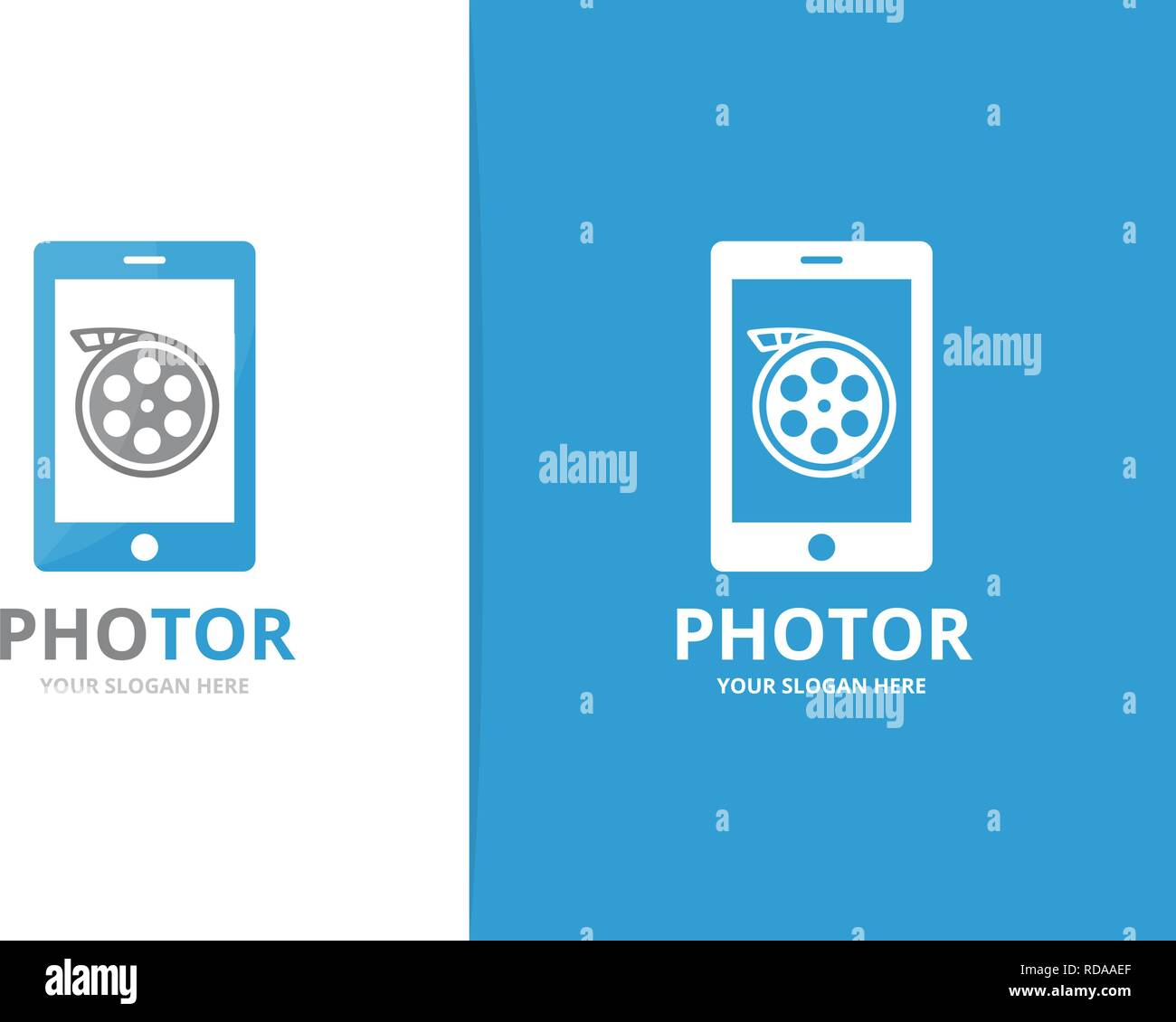 Vector movie and phone logo combination. Cinema and mobile symbol or icon. Unique film and device logotype design template. Stock Vector