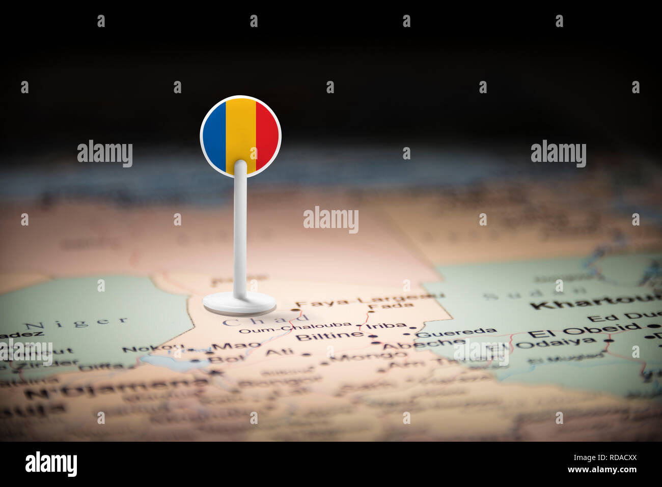 Chad marked with a flag on the map - Stock Image