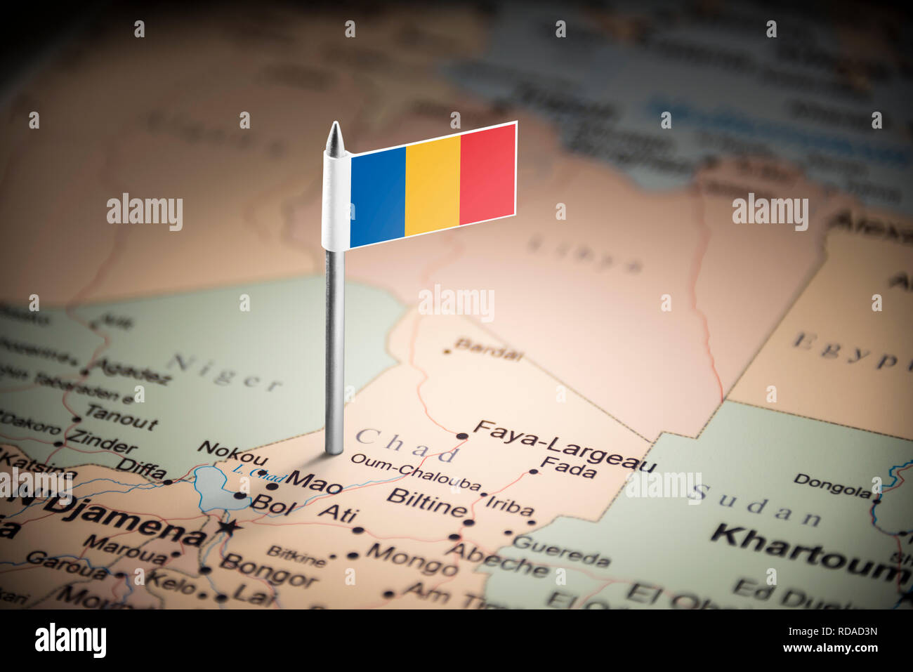 Chad marked with a flag on the map Stock Photo