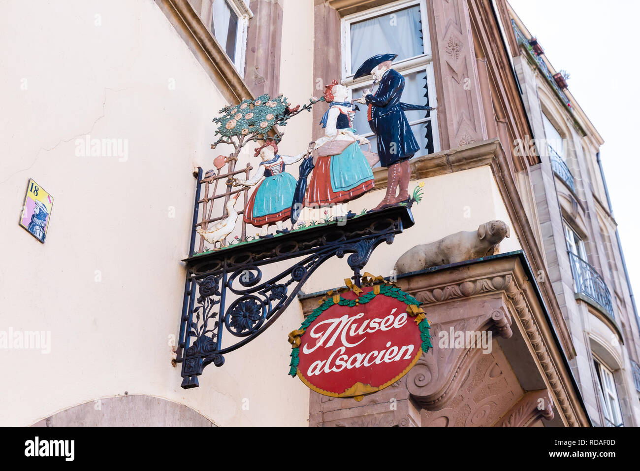 Strasbourg, France - September 09, 2018: signboard of an Alsatian museum in Strasbourg. Strasbourg is the capital and largest city of the Grand Est, t Stock Photo