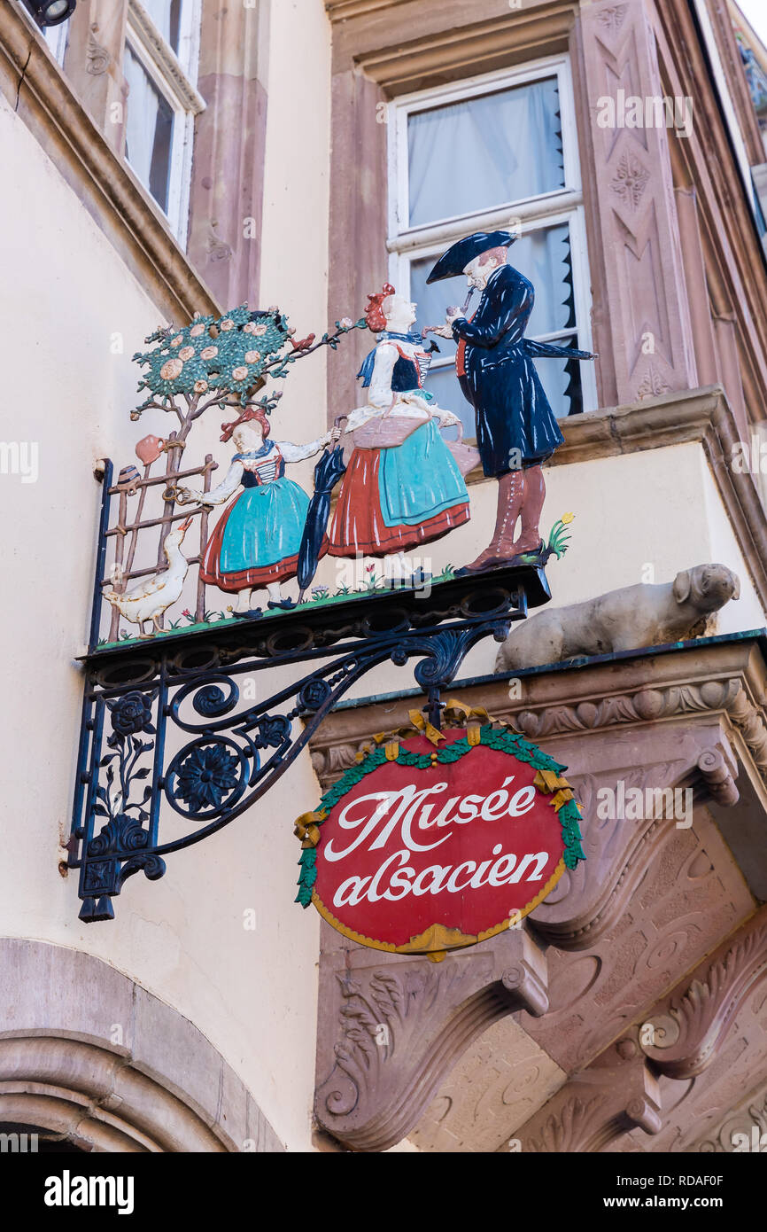 Strasbourg, France - September 09, 2018: signboard of an Alsatian museum in Strasbourg. Strasbourg is the capital and largest city of the Grand Est, t - Stock Image