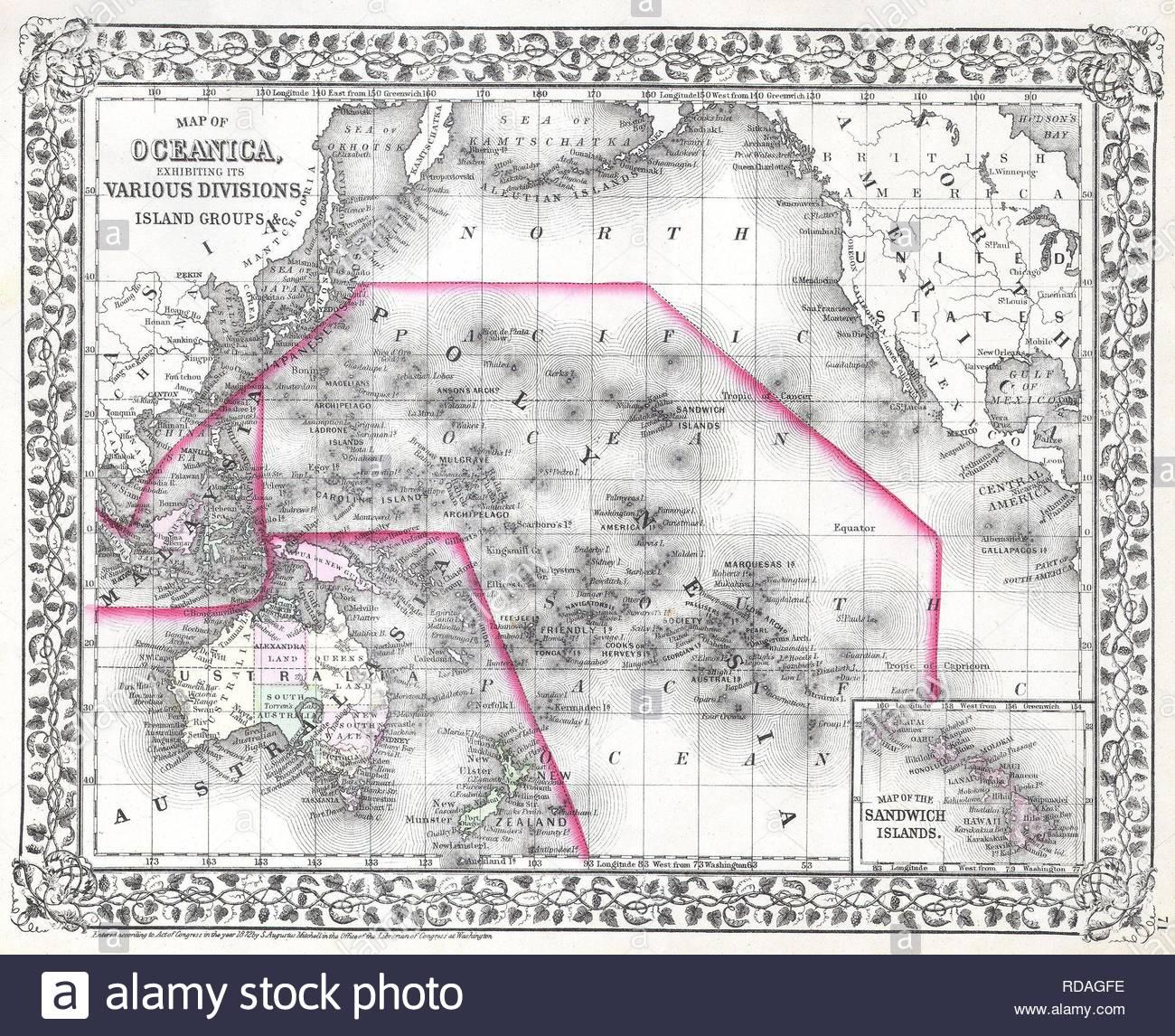 Map Of Australia 1700.Mitchell Map Of Australia And Polynesia Stock Photos Mitchell Map