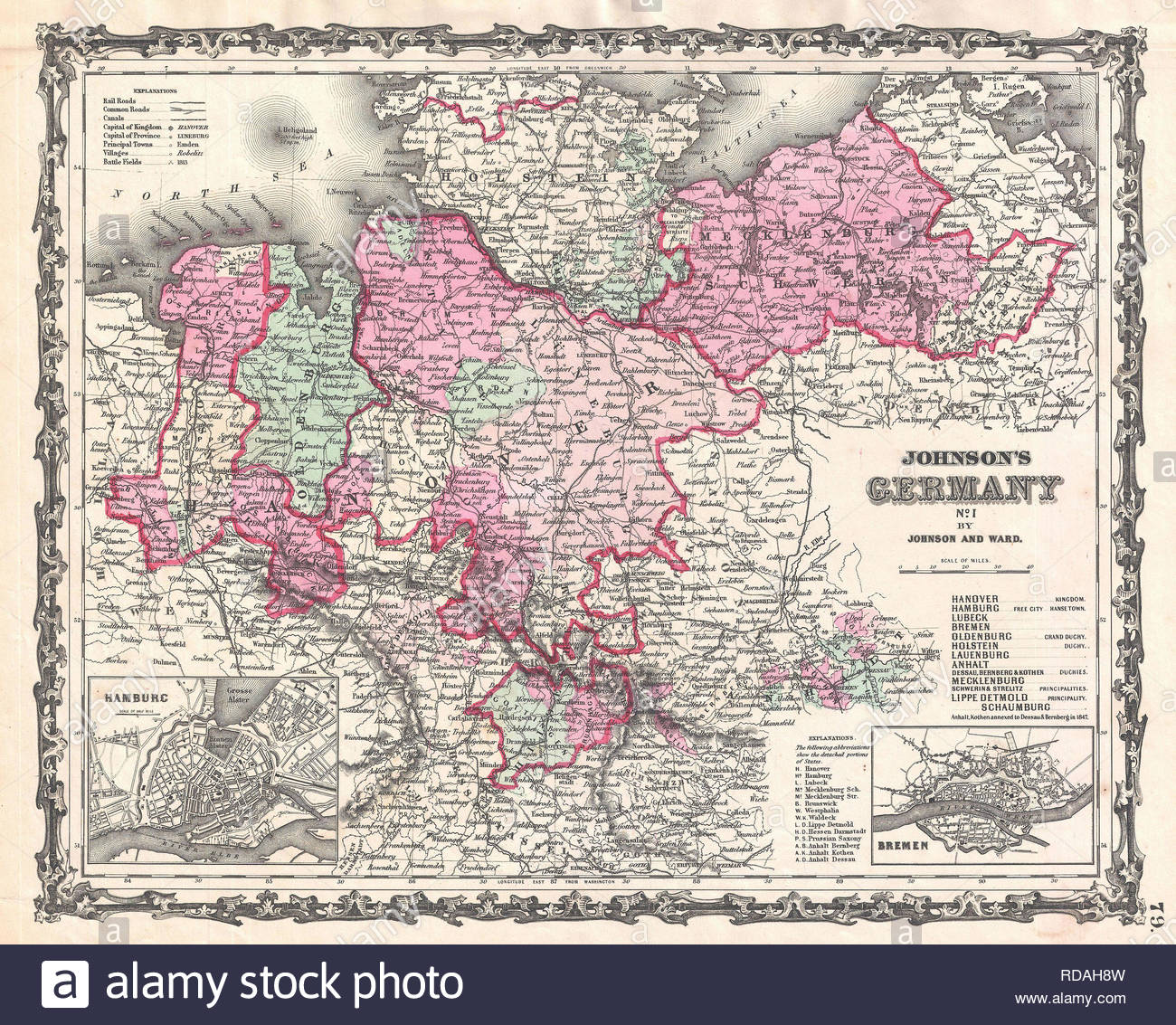 1862 Johnson Map Of Northern Germany Holstein And Hanover Stock