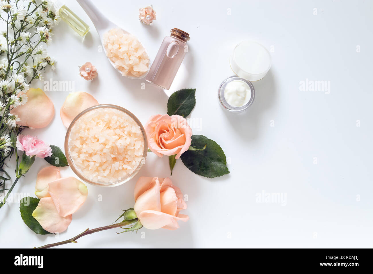 skin care concept. flat lays of skincare remedies style in package with blank label with natural materials isolated on white background Stock Photo