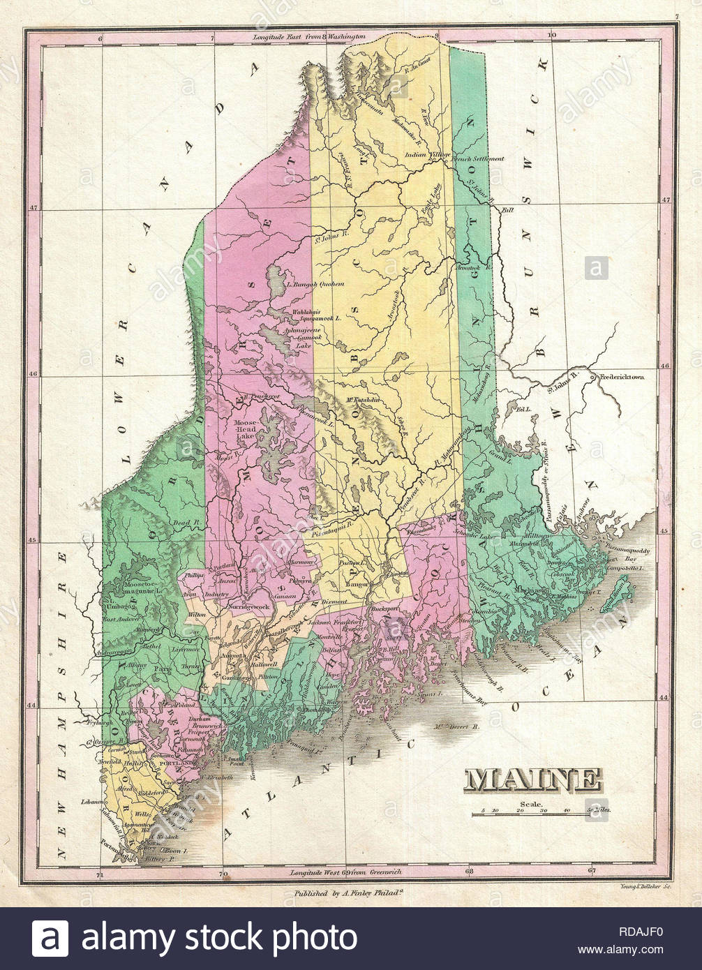 Finley Map Of Maine Stock Photos Finley Map Of Maine Stock Images