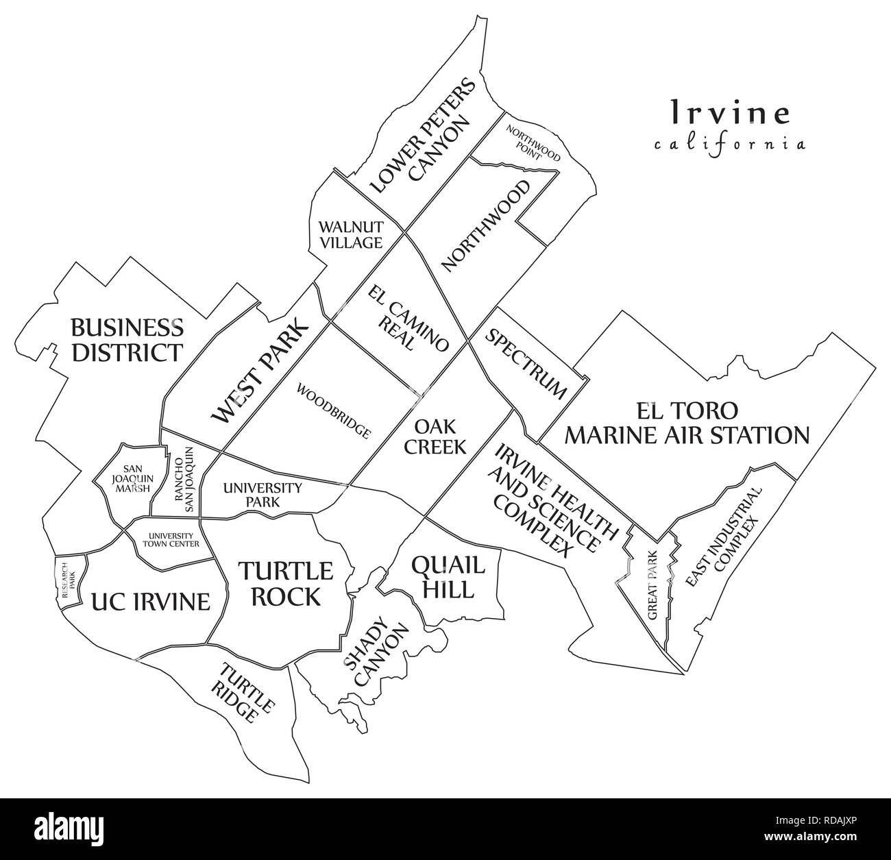 Modern City Map - Irvine California city of the USA with ...