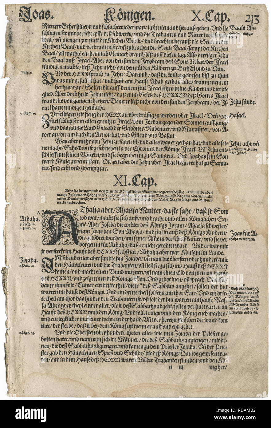 Leaf from a 1567 German language Bible, translated from the Greek and Hebrew by Martin Luther. Text shown is from the Old Testament book of II Kings. - Stock Image