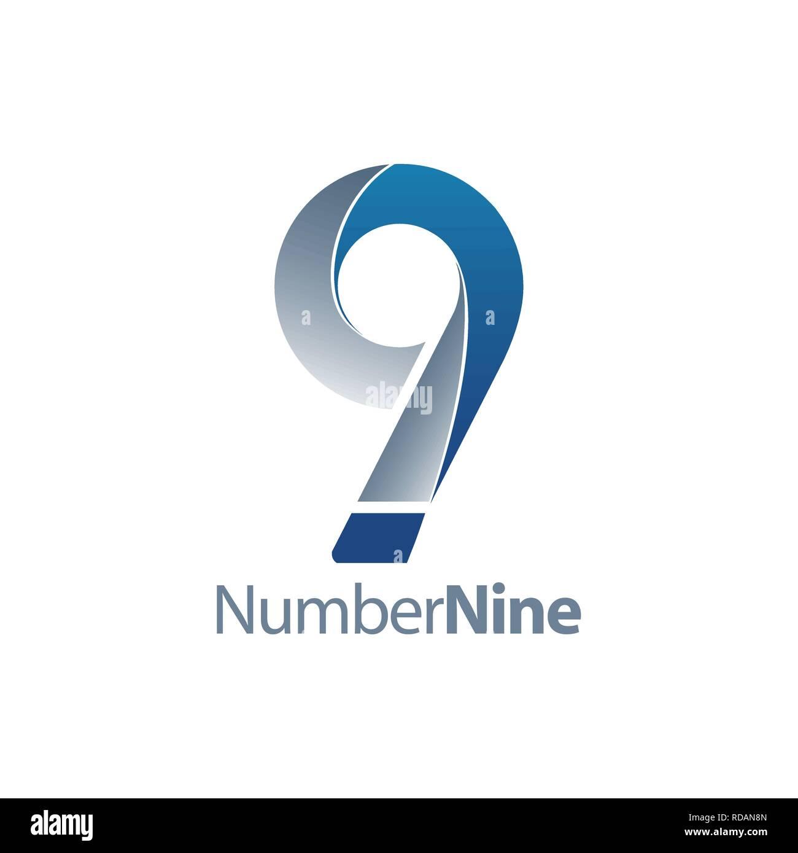 Modern number nine 9 logo concept design  Symbol graphic