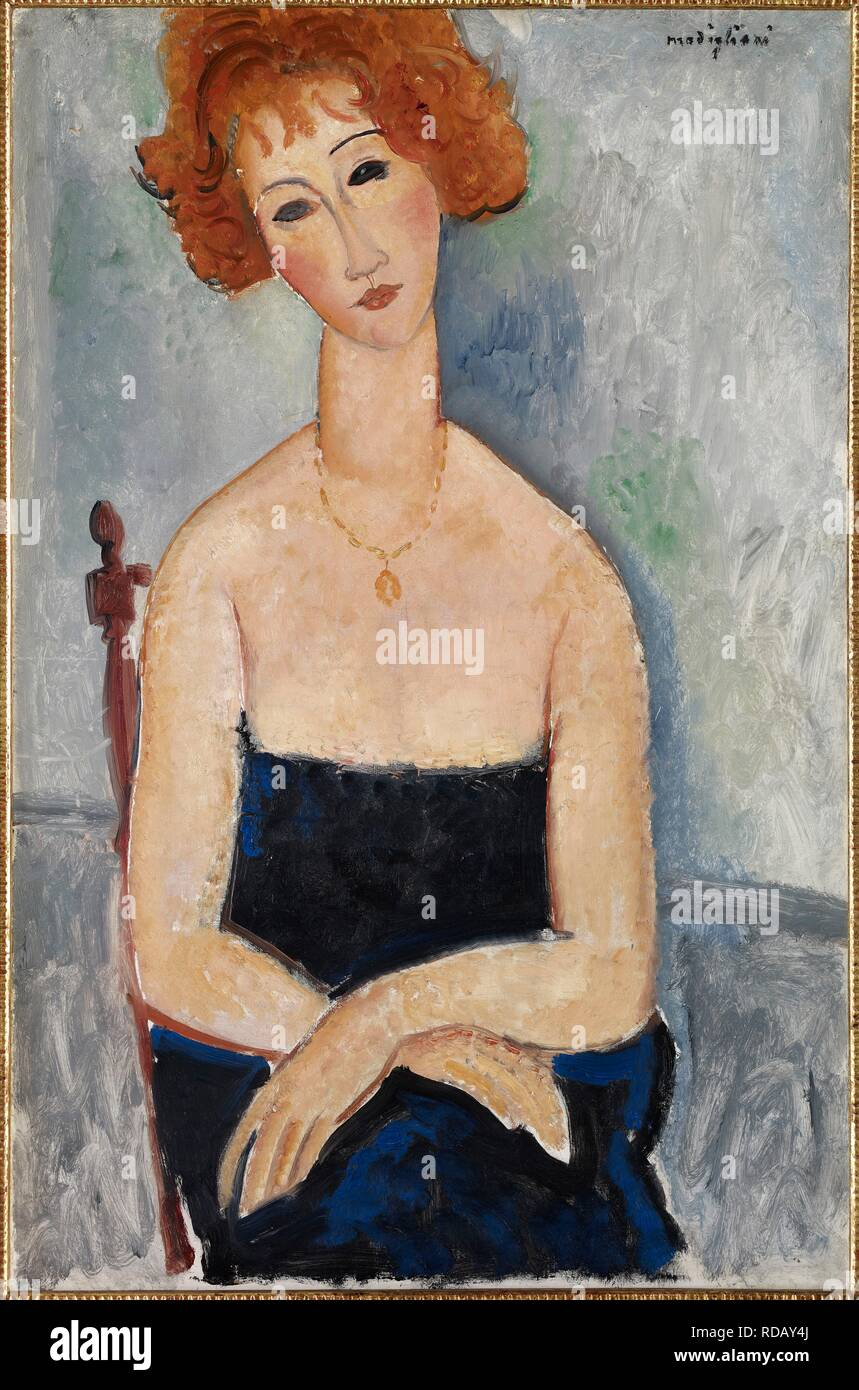 Red-headed Woman wearing a Pendant. Museum: Colección Alicia Koplowitz-Grupo Omega Capital. Author: Modigliani, Amedeo. - Stock Image