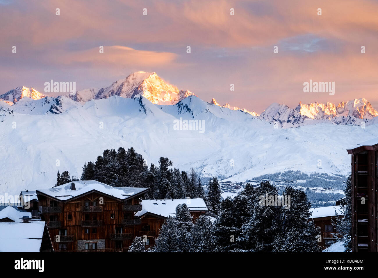 Looking out over Arc 2000 to Mont Blanc as the sun rises. Stock Photo