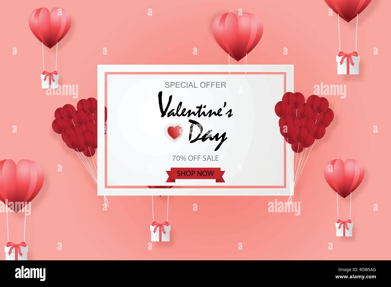 f56bdfab35 Creative valentines day sale background with hot air balloon paper cut  style background. Vector illustration digital paper craft. Color trend.  Flyers.