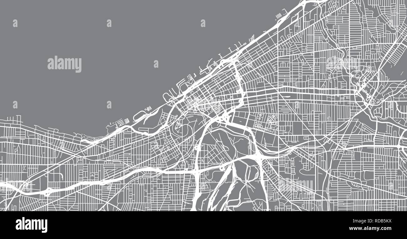 Urban vector city map of Cleveland, Ohio, United States of ...