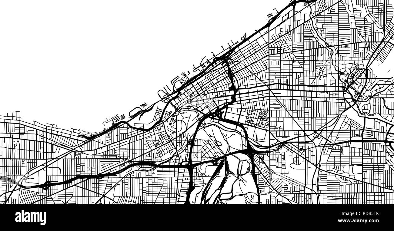 Urban Vector City Map Of Cleveland Ohio United States Of America - Cleveland-us-map