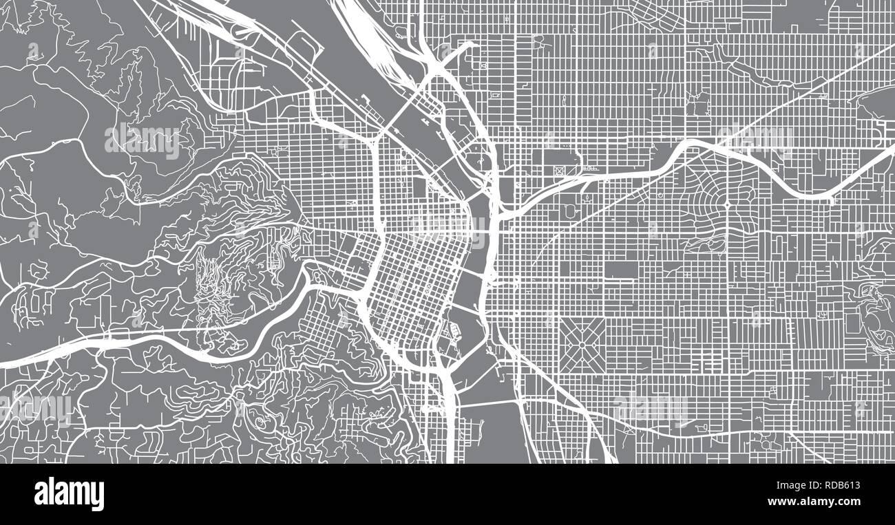 Urban vector city map of Portland, Oregon, United States of ...