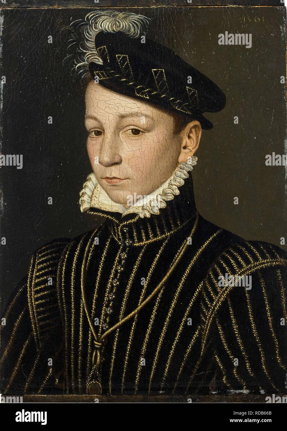 Portrait of King Charles IX of France (1550-1574). Museum: PRIVATE COLLECTION. Author: CLOUET, FRANÇOIS. Stock Photo