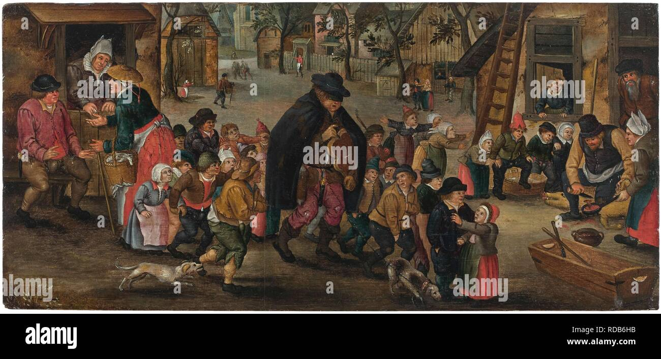 Blind Hurdy-Gurdy Player. Museum: PRIVATE COLLECTION. Author: BRUEGHEL, PIETER THE YOUNGER. Stock Photo