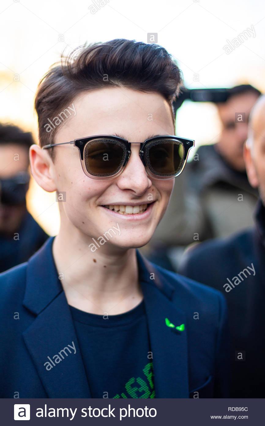 Milan, Italy. 14th January 2019. 'Stranger Things' star Noah Schnapp guest at Fendi Show during Milan Fashion Week Men's Fall/Winter 2019/20 - Stock Image