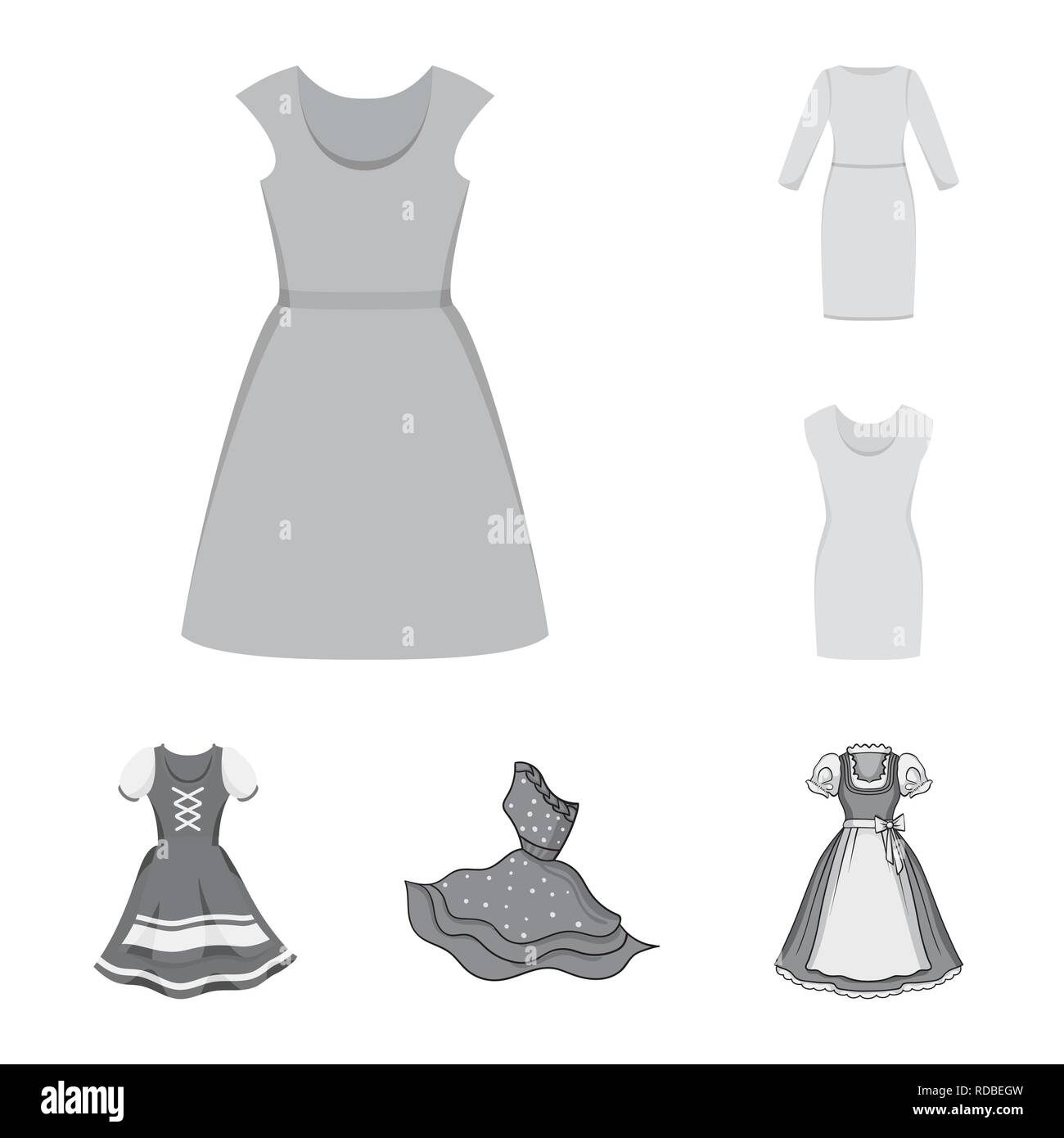 Isolated object of dress and clothes symbol. Collection of dress and evening stock vector illustration. - Stock Vector