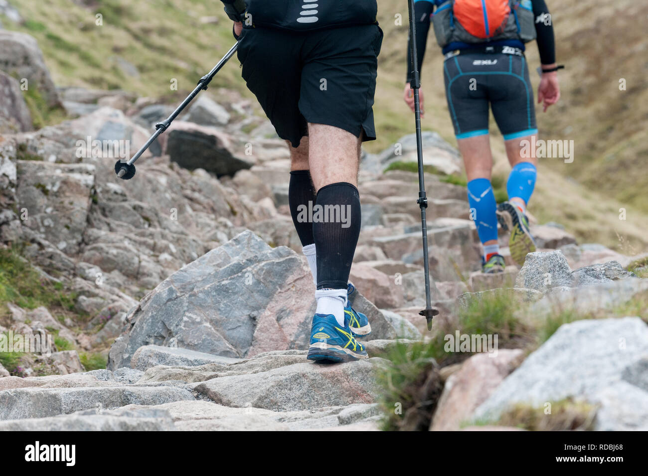 Walkers on the ben nevis path make there way up and down - Stock Image