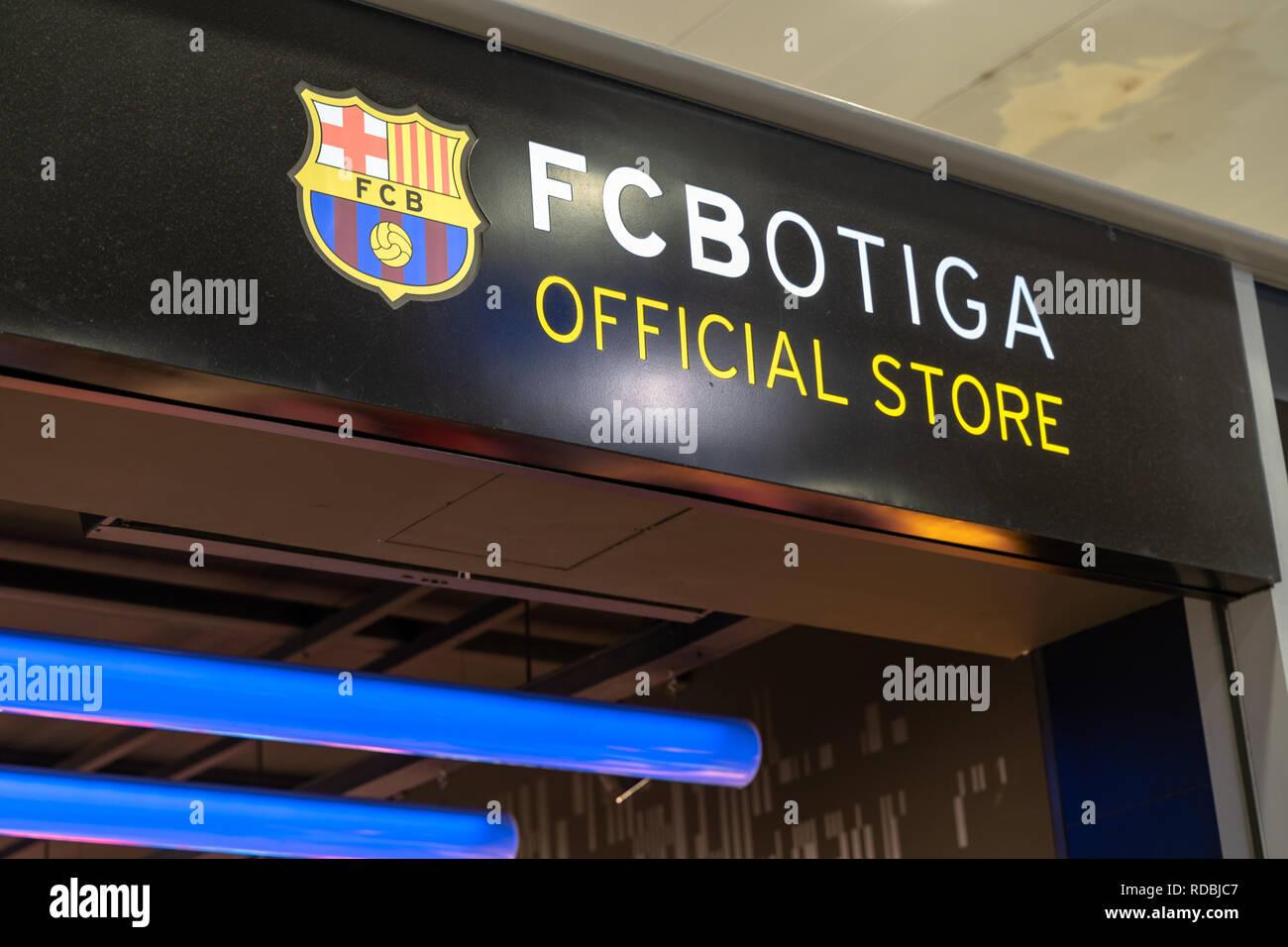 Entrance, facade to the fc botiga store of the fc barcelona footbal.  Logo fc barcelona, Spain - Stock Image