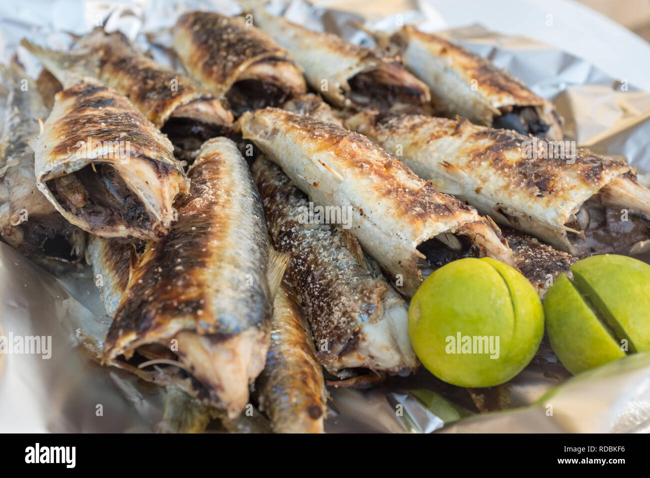Freshly grilled sardines in a fish souk, or market, in Salalah, Oman