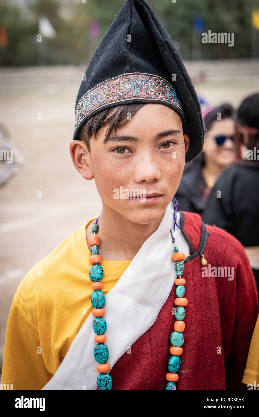 81799120a Ladakh, India - September 4, 2018: Portrait of young ethnic Indian boy in  traditional clothes on festival in Ladakh. Illustrative editorial.