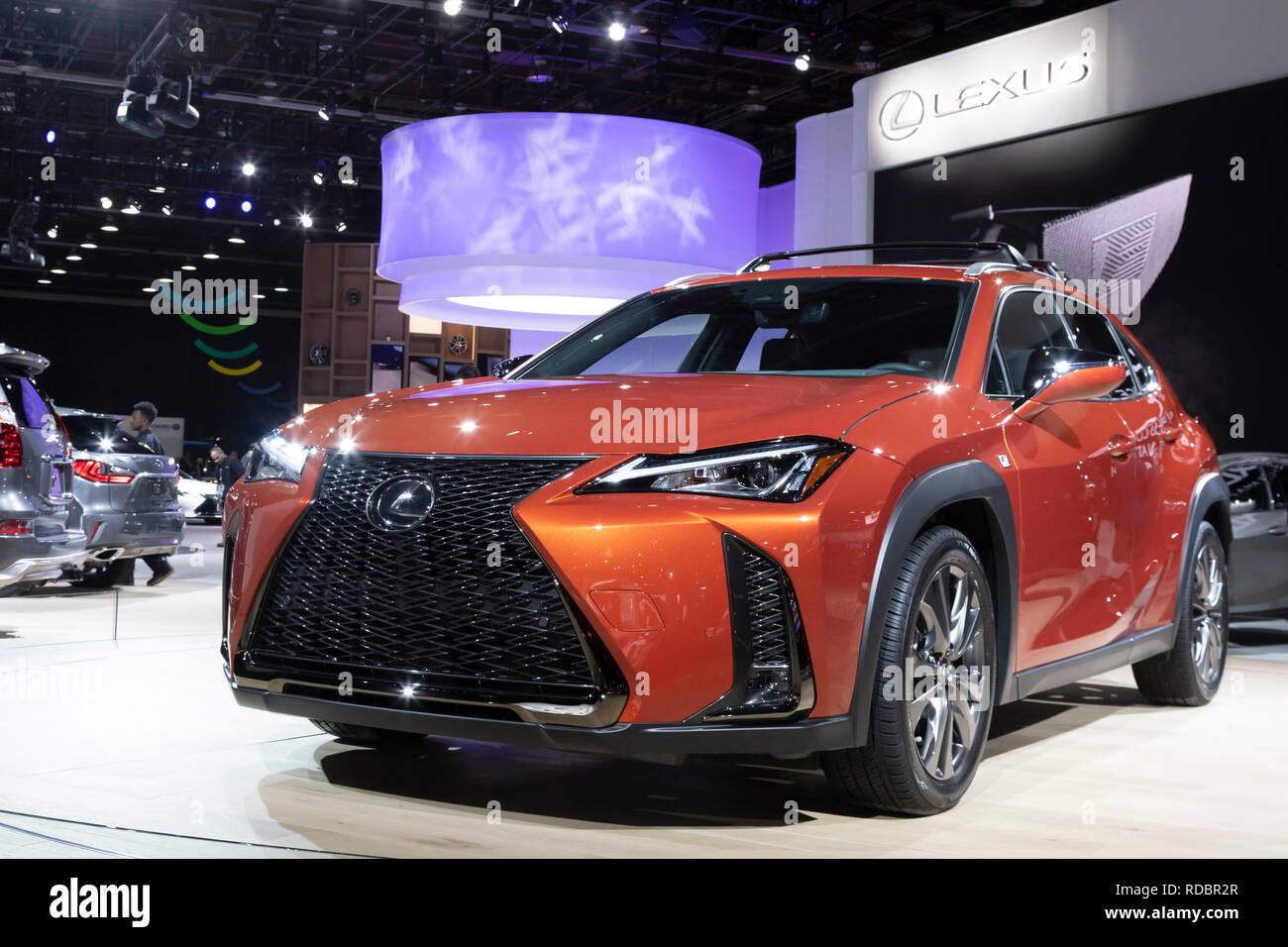 Detroit, Michigan - The Lexus UX small luixury SUV on display at the North American International Auto Show. The vehicle is available in both gas and  - Stock Image
