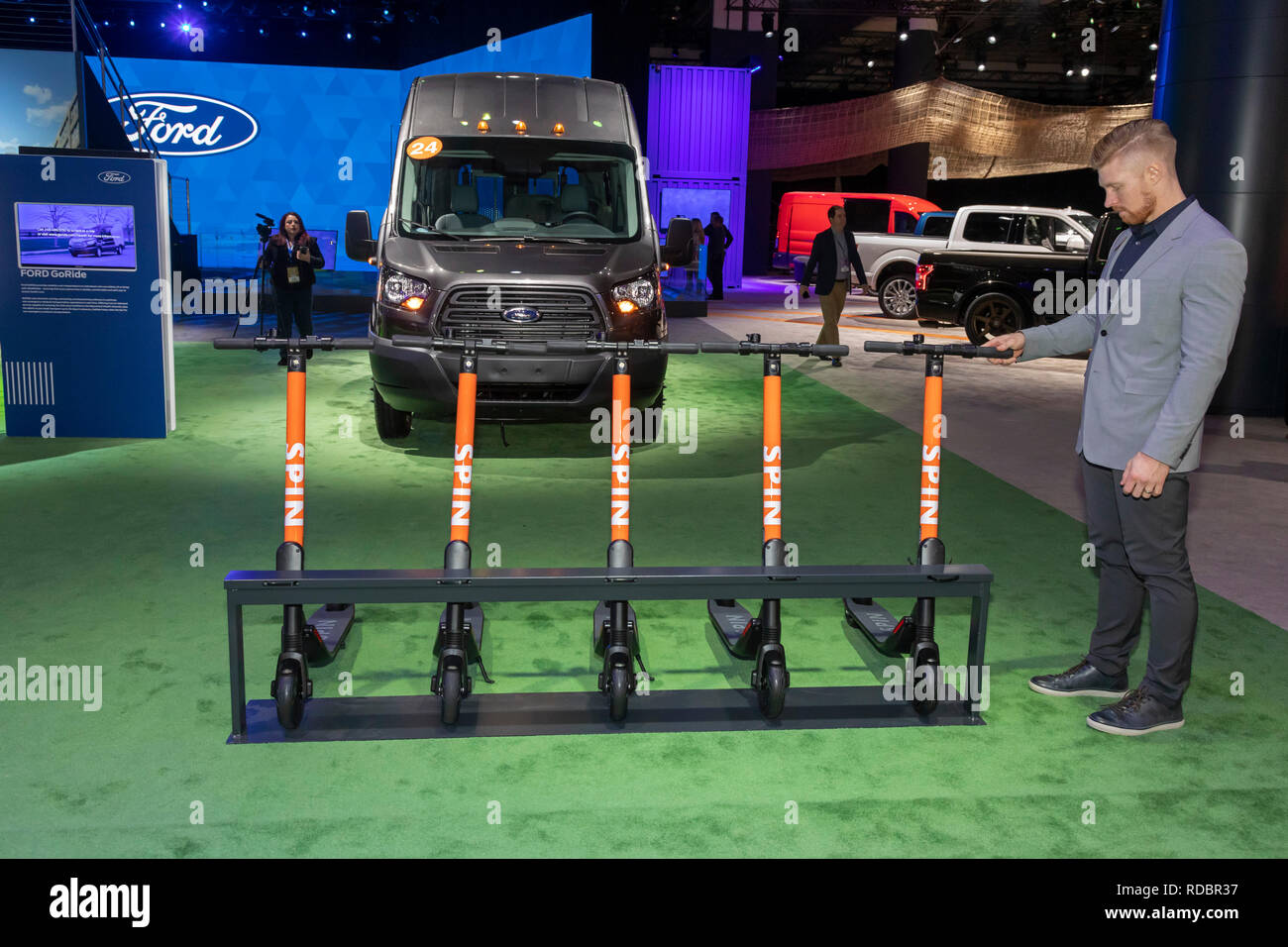 Detroit, Michigan - Spin scooters on display at the North American International Auto Show. Spin is owned by the Ford Motor Co. - Stock Image