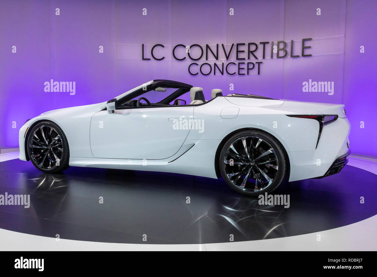 Detroit, Michigan - The Lexus LC Convertible concept car on display at the North American International Auto Show. - Stock Image