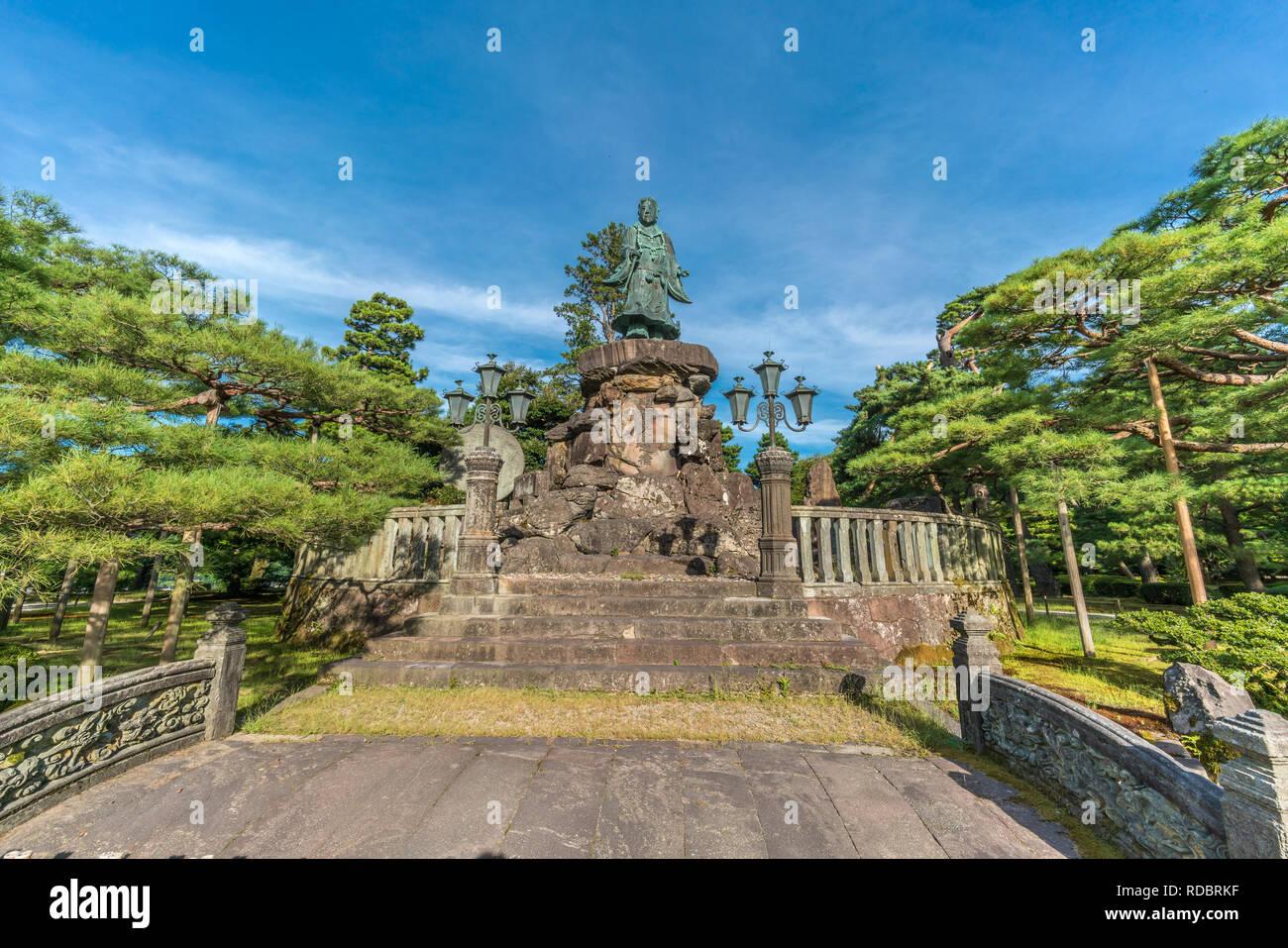 Kanazawa, Ishikawa Japan - August 22, 2018 : Statue of Prince Yamato Takeru. 12th Emperor of Japan Located in Kenrokuen Garden - Stock Image