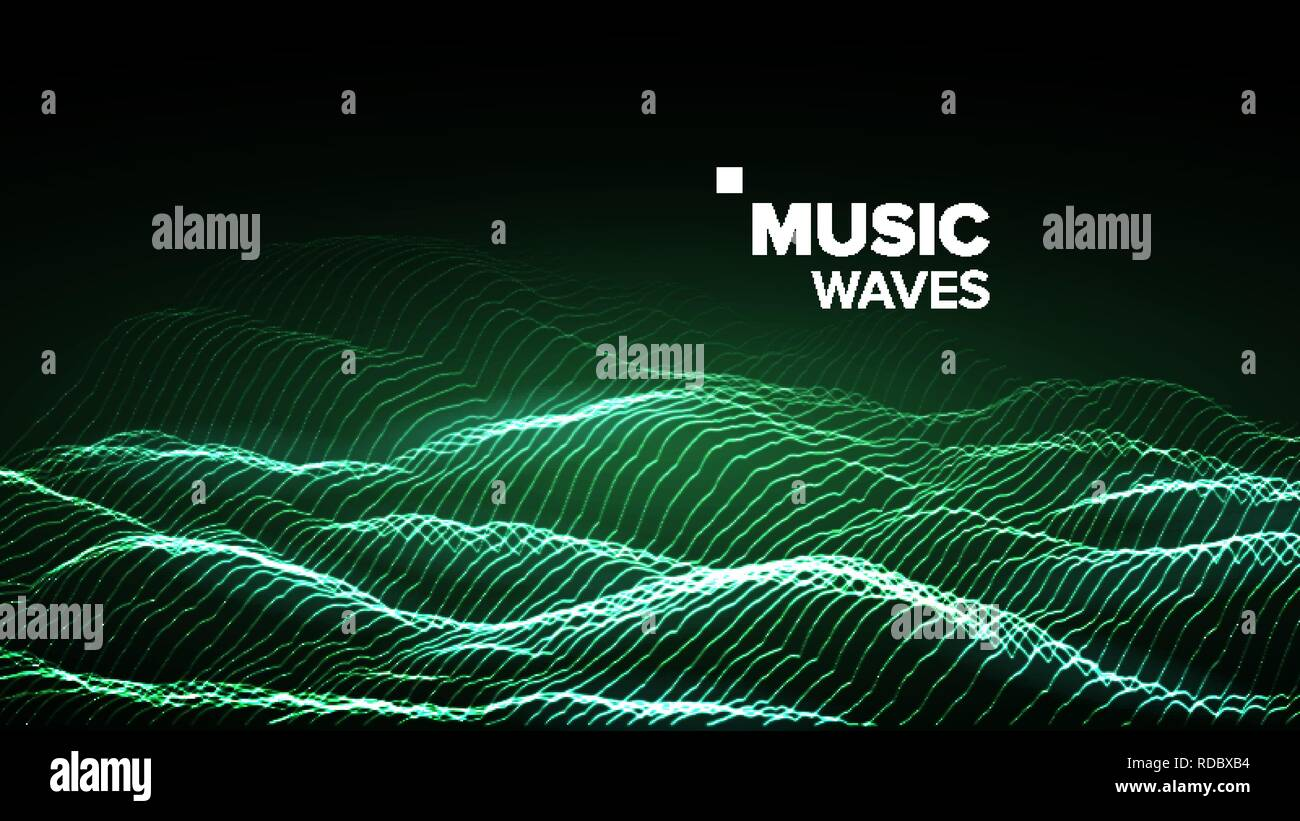 Music Background Vector. Technology Stream. Electric Bokeh. 3D Illustration - Stock Image