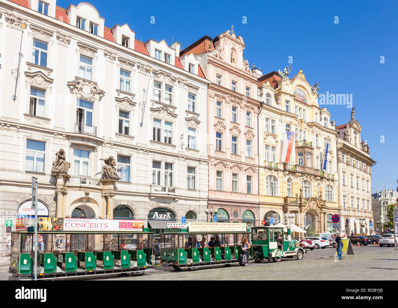 Prague novelty tourist train rides in the Old town square Staroměstské náměstí Prague Czech Republic Europe - Stock Image