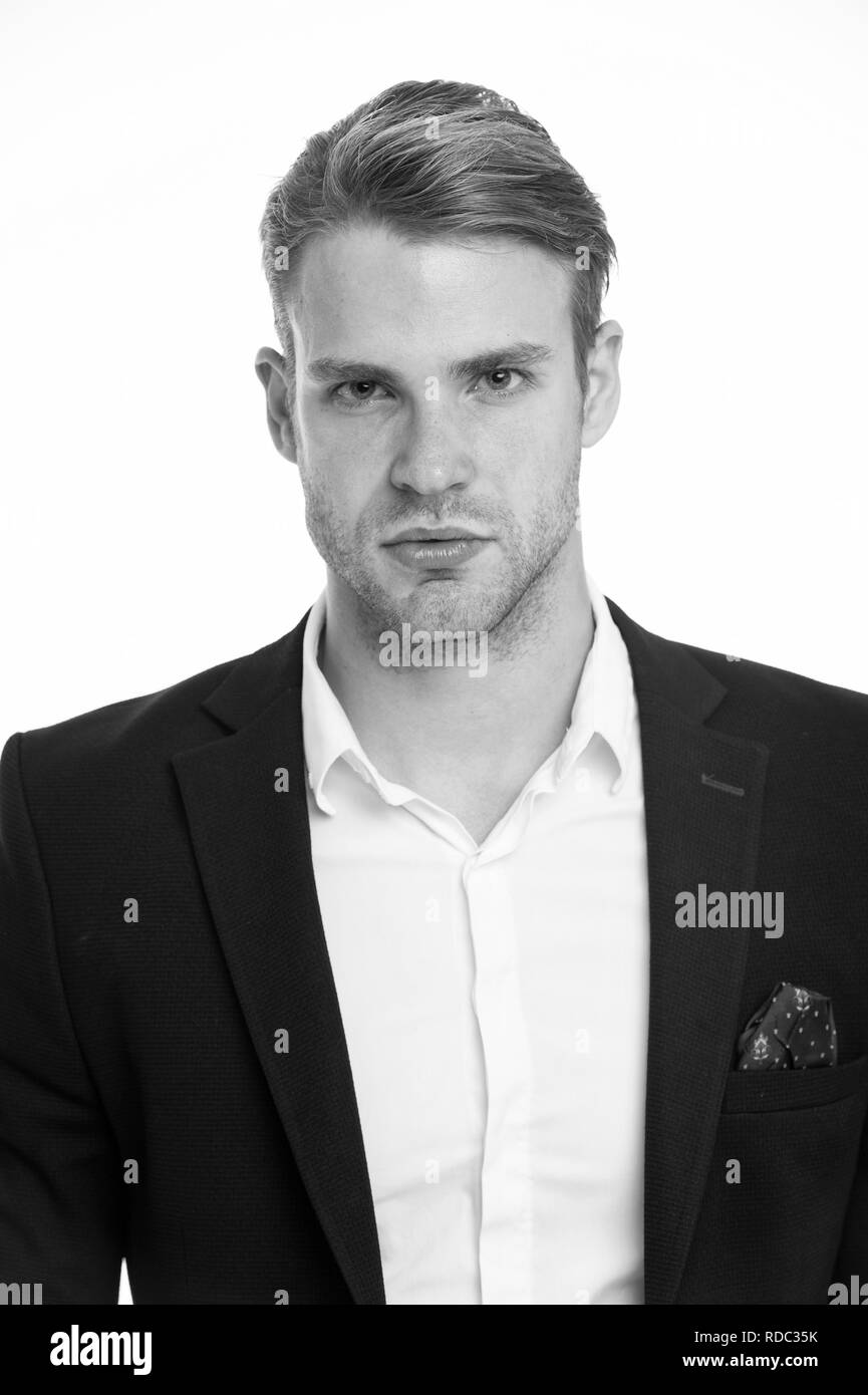 Man well groomed in formal outfit, isolated white background. Male fashion concept. Business dress code means for men suit. Business dress code. Businessman gentleman dressed professional attire. - Stock Image