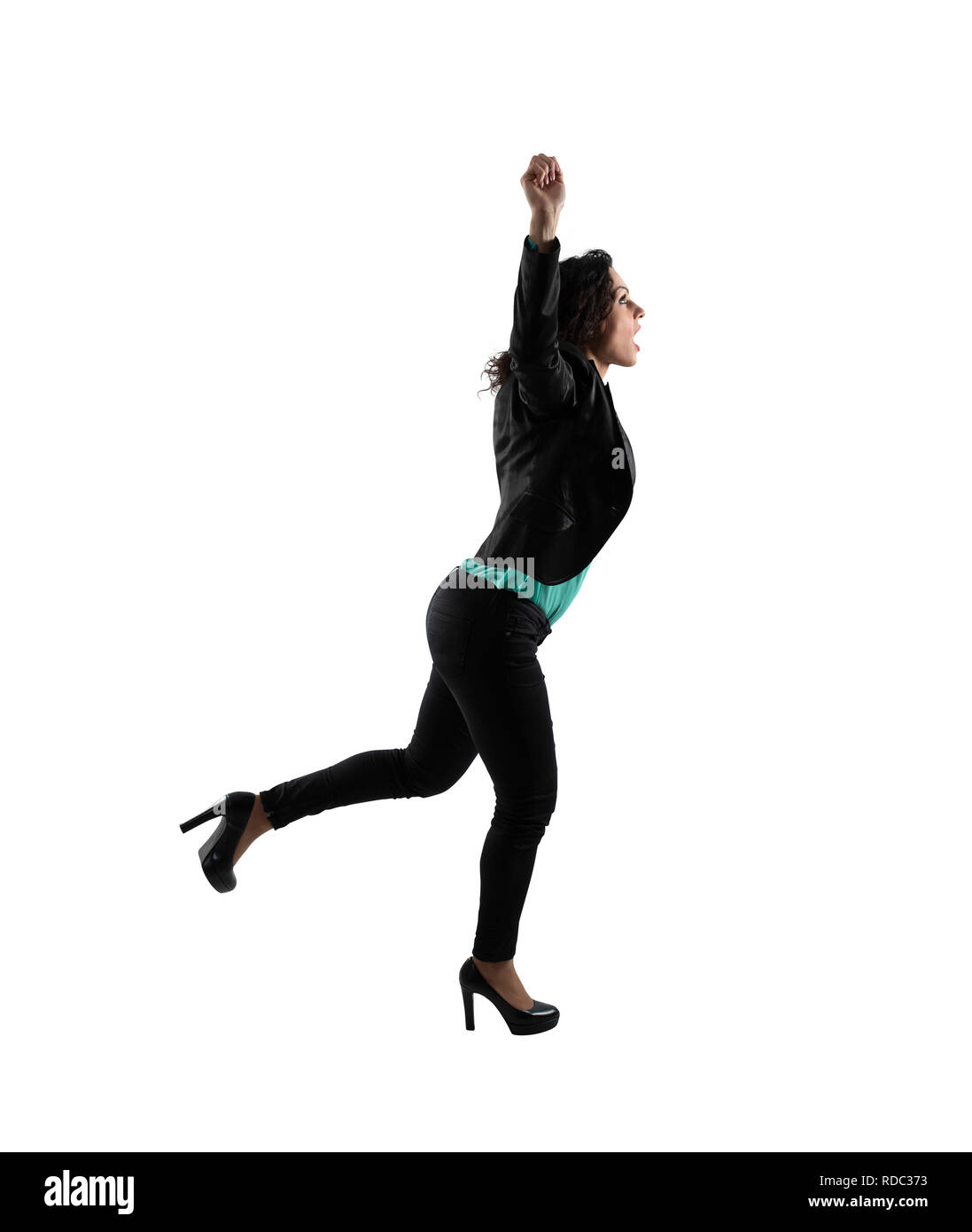 Winning businesswoman that runs. Isolated on white background - Stock Image