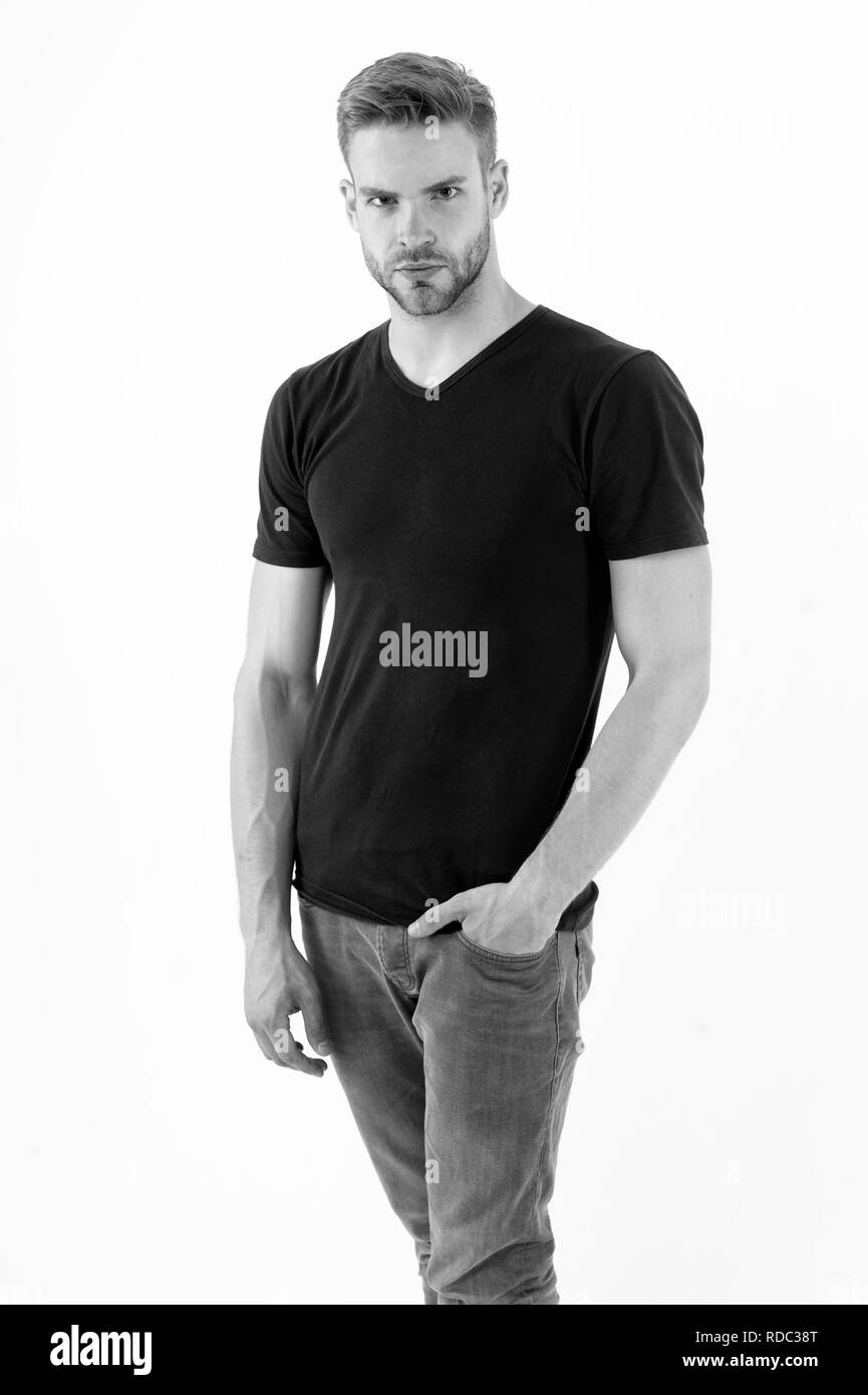 Bearded man with serious look isolated on white. Macho hold hand in pocket. Man in trendy style. fashion for men. Black friday and sale. Casual in style. Handsome and confident. - Stock Image
