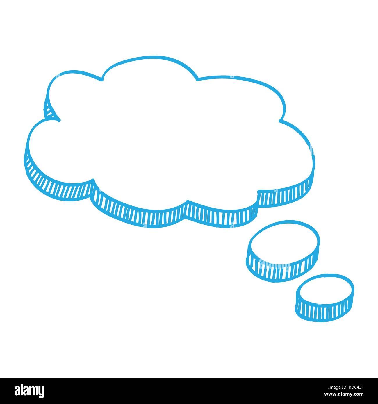 Blue speech balloon Blank template, text speech bubble with Blue ink, Vector Illustration - Stock Image